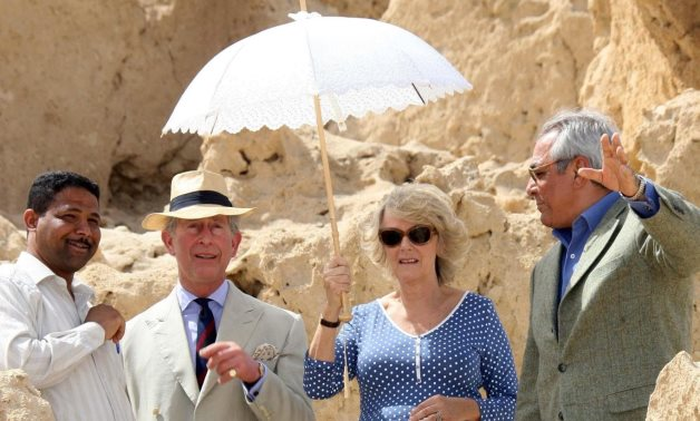 The Prince Of Wales and The Duchess of Cornwall visit the Oasis village of Siwa in Egypt in March 2006- the photo was released by the UK Clarence House.