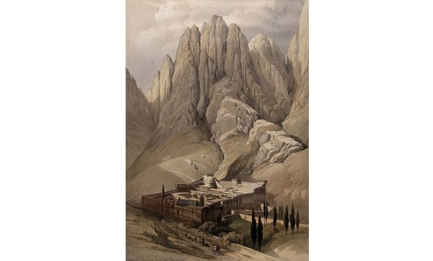 Monastery of St. Catherine beneath Mount Sinai. Coloured lithograph by Louis Haghe after David Roberts, 1849 - Welcome Images via Commons Wikimedia