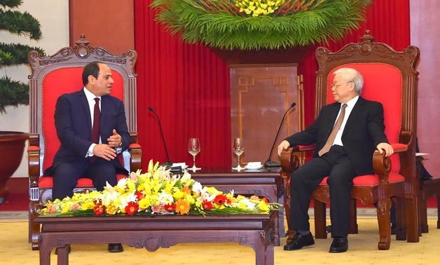 President Sisi meets with Vietnam's Communist Party General Secretary Nguyen Phu Trong in Hanoi- Press photo