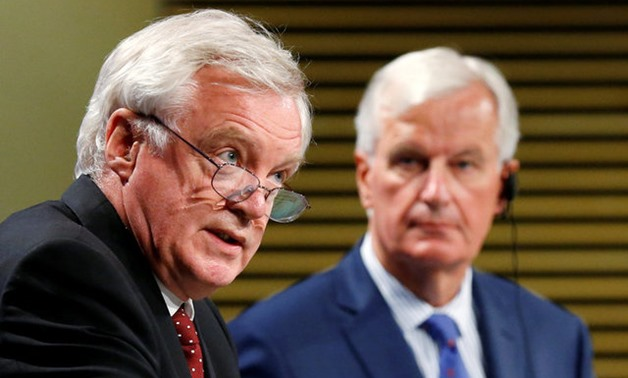 Britain's Secretary of State for Exiting the EU Davis and EU's chief Brexit negotiator Barnier hold a joint news conference in Brussels - REUTERS