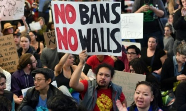 AFP/  Protesters demonstrate at San Francisco International Airport in California, in January 2017