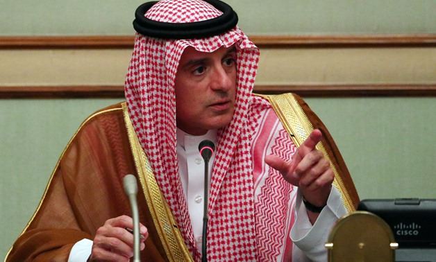 FILE- Saudi Arabia's Foreign Minister Adel al-Jubeir speaks at a briefing with reporters at the Saudi Embassy in London, Britain September 5, 2017. REUTERS/Hannah McKay