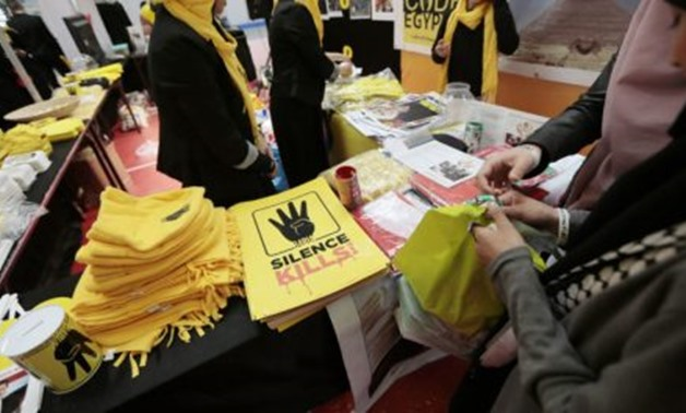 A pro-Muslim Brotherhood stand at a conference organized by the Union of Islamic Organisations of France- AFP