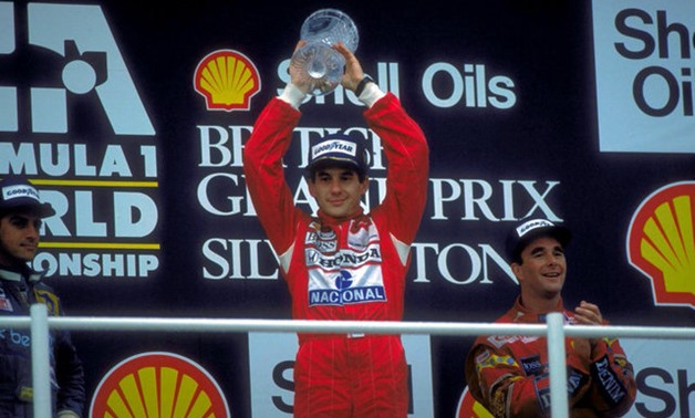 Motor Racing - Formula One , F1 , British Grand Prix - SIlverstone. Ayrton Senna celebrates 10/7/88 Picture taken July 10, 1988. To match Special Report HONDA-INNOVATION/ Action Images via Reuters