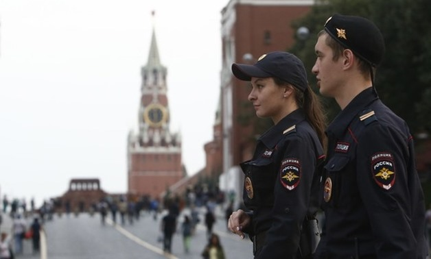 Interior Ministry officers patrol central Moscow - REUTERS