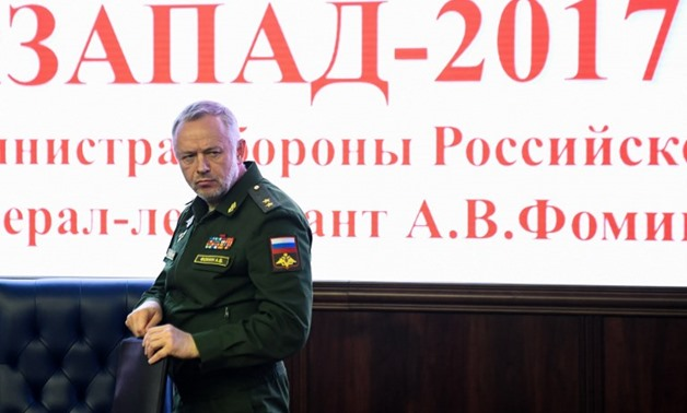 Russian deputy Defence minister Alexander Fomin attends the briefing prior the military exercises Zapad-2017 in the Russian Defence Ministry headquarter in Moscow on August 29 -AFP