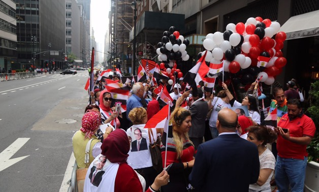 Egyptian community in New York welcomes Sisi's arrival- Photo via Youm7