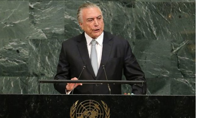 Brazilian President Temer addresses the 72nd United Nations General Assembly at U.N. headquarters in New York - REUTERS