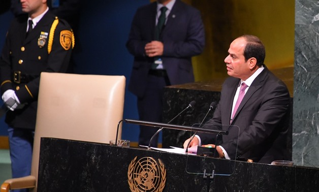 President Sisi gives a speech at the 72nd round of the United Nations Genera Assembly meetings (UNGA 72) in New York- press photo