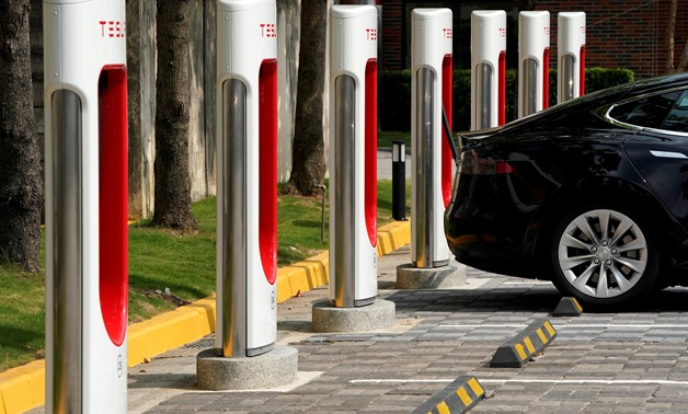 Tesla Supercharger station are seen in Taipei, Taiwan August - REUTERS/Tyrone Siu/File Photo