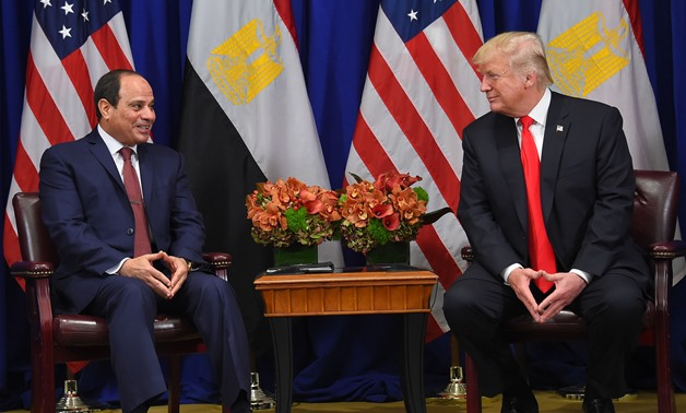 President Abdel Fatah al-Sisi meets with U.S. President Donald Trump on the sidelines of the 72nd UNGA in New York - Press photo
