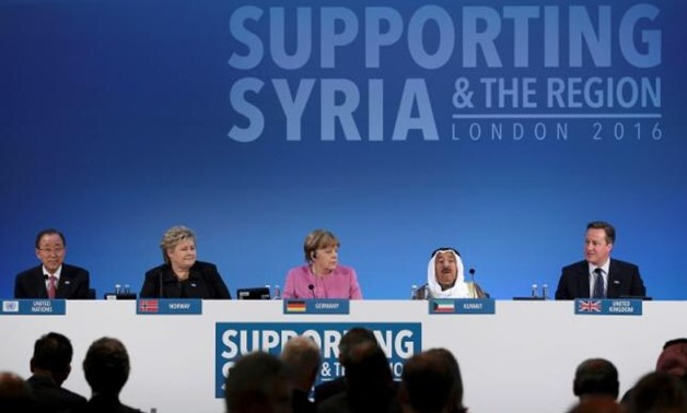 CO-HOSTS OF THE DONORS CONFERENCE FOR SYRIA IN LONDON: UNITED NATIONS SECRETARY-GENERAL BAN KI-MOON, NORWAY'S PRIME MINISTER ERNA SOLBERG, GERMAN CHANCELLOR ANGELA MERKEL, AND THE EMIR OF KUWAIT, SHEIKH SABAH AL-AHMAD AL-SABAH (L-R). © REUTERS