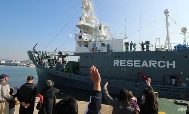 A Japanese whaling ship leaves the port of Shimonoseki in December 2015. (Photo: AFP/Jiji Press)