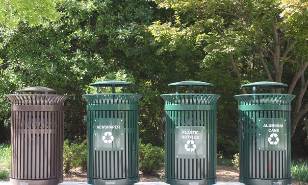 Recycling bins (photo by Wikimedia Commons)