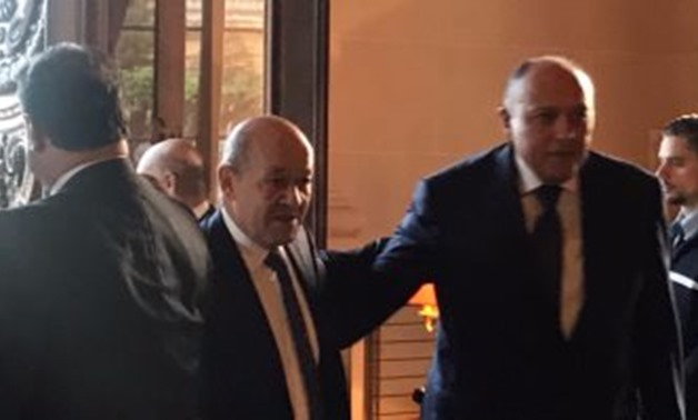 Egyptian Foreign Minister Sameh Shoukry  with his French counterpart Jean-Yves Le Drian in Paris on Friday -File Photo