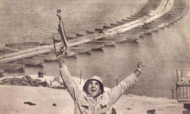 An Egyptian soldier celebrating after the destruction of Bar-Lev line on October 6th, 1973 - File Photo