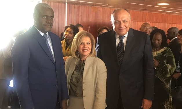 Egypt's nominee for UNESCO director-general Moushira Khattab, Egyptian Foreign Minister Sameh Shoukry (R) and Moussa Faqih, head of the African Union Commission - Press photo