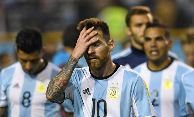 Argentina's Lionel Messi is seen at the end of the goalless 2018 World Cup qualifier football match against Peru in Buenos Aires on Oct. 5, 2017.