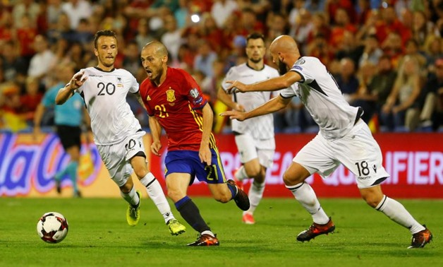 David Silva in Albania`s match, Reuters