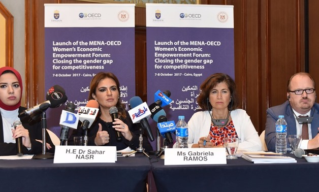 Minister Sahar Nasr and the OECD Chief of Staff and Sherpa to the G20 Gabriela Ramos during the OECD-MENA forum on Oct 7, 2017