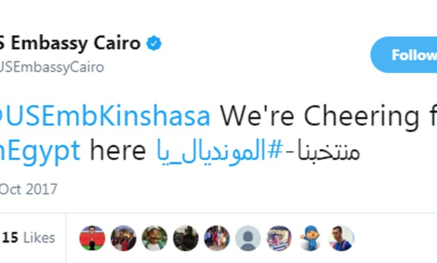 U.S. embassy's tweet to encourage Egyptian National Team