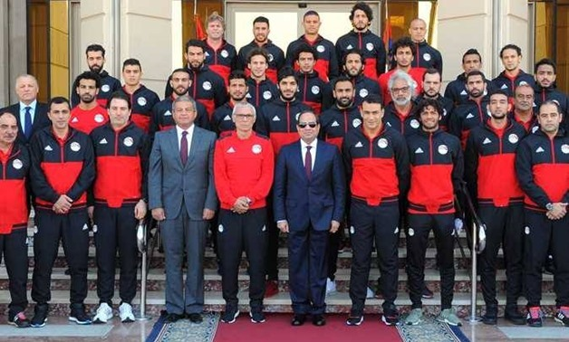 President Abdel Fatah al-Sisi and Egypt's National Team - File Photo
