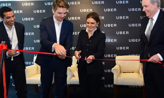 Minister of Investment Sahar Nasr while opening Uber's center Tuesday- Press Photo