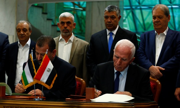 Side of Palestinian parties' meetings in Cairo Thursday, Oct. 12, 2017 - Reuters