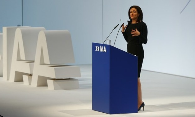 Facebook COO Sandberg speaks during the opening of the Frankfurt Motor Show - REUTERS