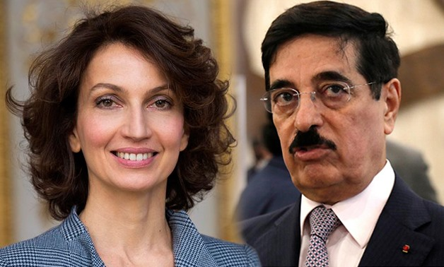 Egypt's candidate Moushira Khattab and France's Audrey Azoulay will compete in the upcoming run-off election on Friday; the winner will be the rival against Qatar's Kawari – Photo compiled by Egypt Today/Mohamed Zain