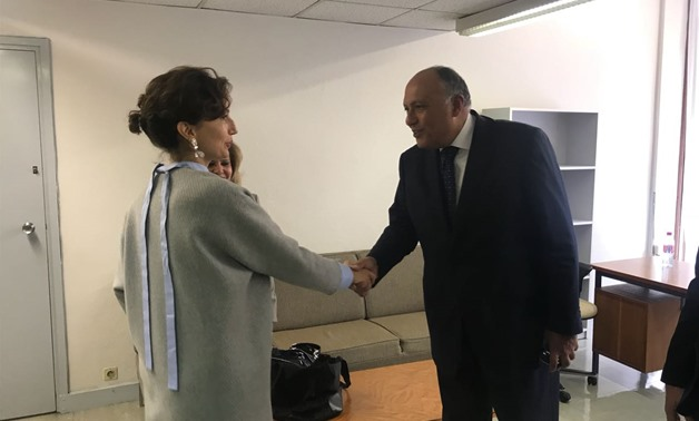 Egypt's Foreign Minister Sameh Shoukry welcoming French Candidate Audrey Azoulay after reaching final round with the Qatari candidate running for UNESCO top post - Photo by Egypt Today