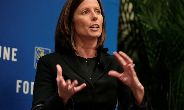 "Adena Friedman, president and CEO of Nasdaq, speaks about ""Maximizing Shareholder Value"" at the 2017 Fortune magazine's ""Most Powerful Women"" summit in Washington, U.S., October 9, 2017. REUTERS/Joshua Roberts"
