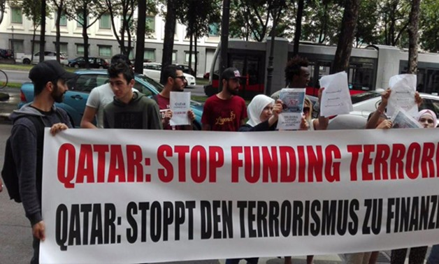 Austrian protesters before the Qatari Embassy in Vienna - File Photo