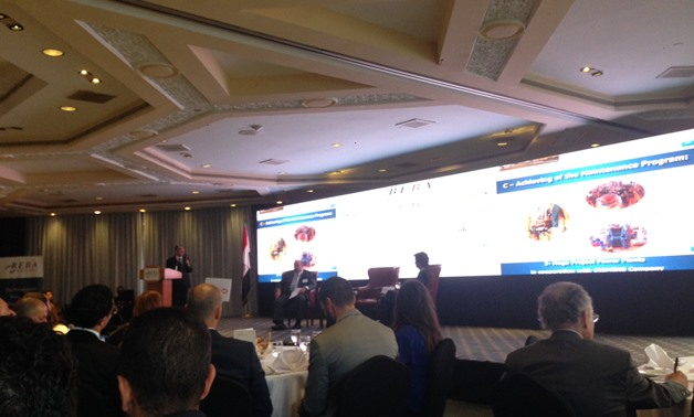 Minister of Electricity Mohamed Shaker giving a presentation during BEBA event- Egypt Today photo