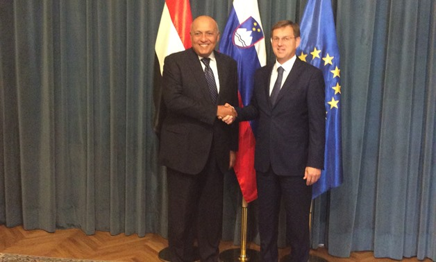Egyptian Foreign Minister Sameh Shoukry and Slovenia's Prime Minister Miro Cerar - Press Photo
