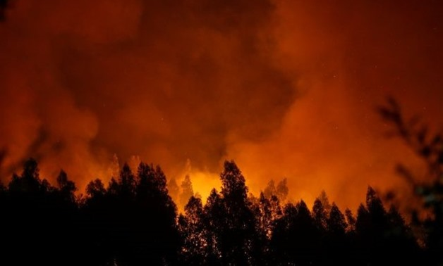 Smoke and flames from a forest fire are seen near Lousa, Portugal, October 16, 2017. REUTERS/Pedro Nunes