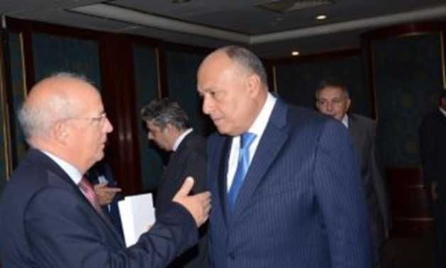 Egyptian Foreign Minister Sameh Shoukry meets with the visiting Portuguese Minister of Foreign Affairs Augusto Santos Silva during the Egyptian-Portuguese business council on Thursday -- EGYPT TODAY