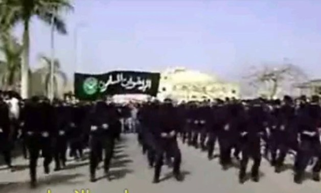 Screenshot taken from video posted on YouTube by wrx200000 of Muslim Brotherhood students' military parade at Al-Azhar University in 2007