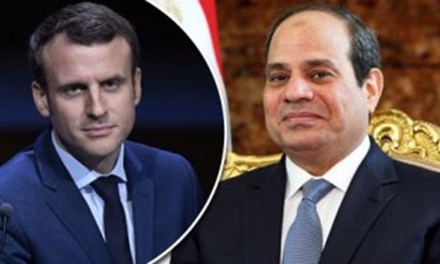 Egyptian president Abdel Fatah al-Sisi and the French minister Emmanuel Macron -- Egypt Today