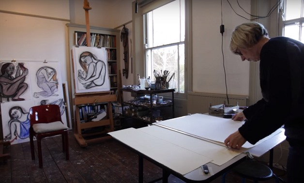 Eileen Cooper in her studio, screencap via Royal Academy of Arts YouTube Channel