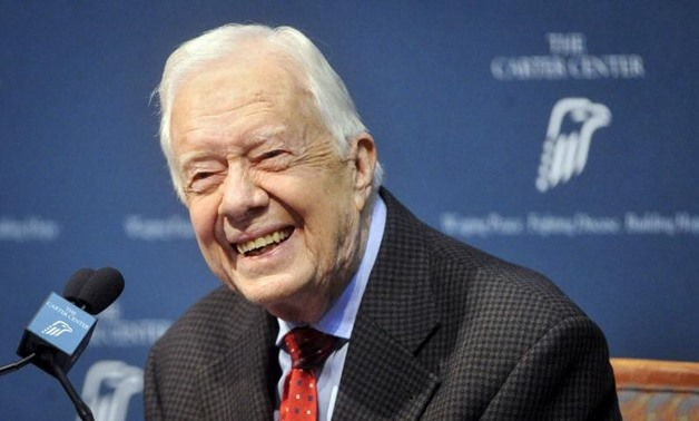 Former U.S. President Jimmy Carter takes questions from the media during a news conference at the Carter Center in Atlanta, Georgia August 20, 2015. REUTERS/John Amis
