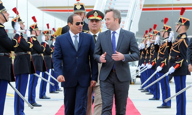 President Sisi (L)  has arrived in Paris for a four-day visit in Paris- press photo