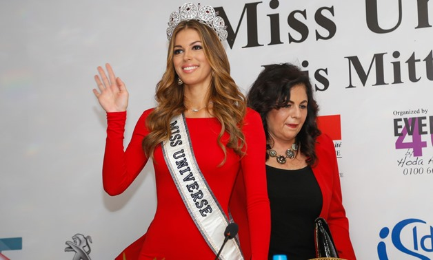 Miss Universe 2016 Iris Mittenaere of France waving to the audience at the press conference held on the occasion of her current week-long visit to Egypt - Karim Abdel Aziz
