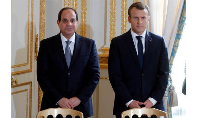 File- French President Emmanuel Macron and Egyptian President Abdel Fattah al-Sisi attend a news conference at the Elysee Palace, in Paris, France, October 24, 2017. REUTERS/Philippe Wojazer