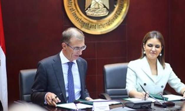 Minister of Investment and International Cooperation Sahar Nasr signed on Friday a memorandum of understanding with Deputy Chairman and Chief Executive Officer of HSBC Bank Emmanuel Blanchet - File Photo