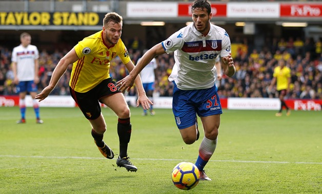 Stoke City's Ramadan Sobhi in action with Watford's Tom Cleverley - REUTERS/Peter Nicholls