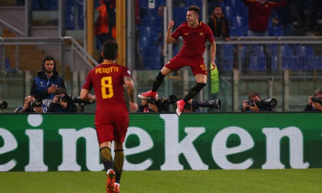 AS Roma's Stephan El Shaarawy celebrates scoring their second goal REUTERS/Alessandro Bianchi