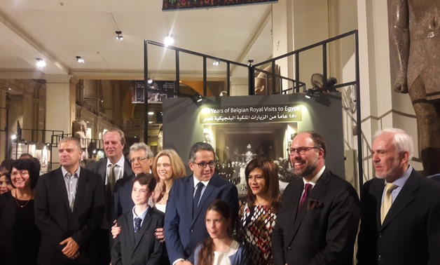 Antiquities Khaled El Enany and Belgian Ambassdor in Egypt Sibille de Cartier inaugurating the exhibition