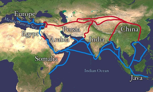 Extent of Silk Route/Silk Road. Red is land route and the blue is the sea/water route - Wikimedia commons