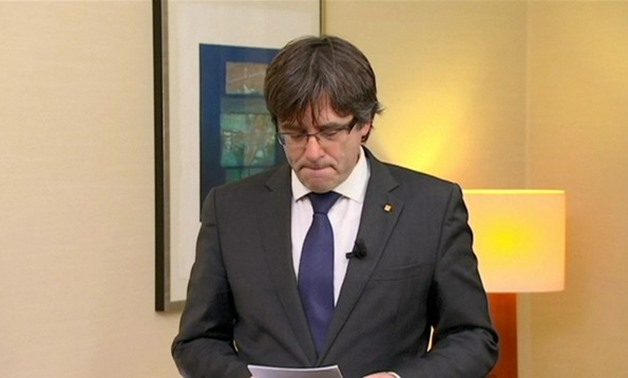 Sacked Catalan President Carles Puigdemont makes a statement in Brussels - REUTERS